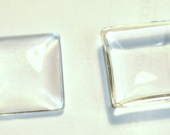 Square 25mm x 25mm magnifying glass cabochon