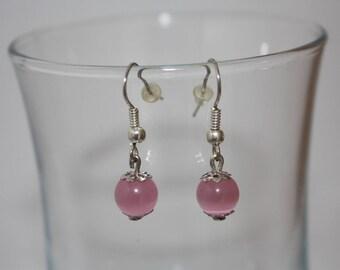Pink cat's eye bead earrings