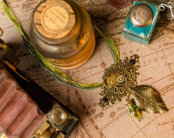 Bronze leaf steampunk clockwork cabochon - mechanical vial necklace