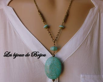 Pendant necklace bronze chain turquoise beads