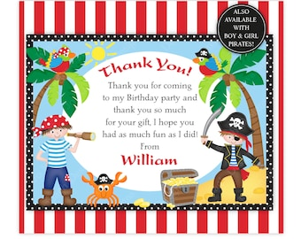 Pirate Thank You Card,Pirates,Printable Pirates Thank You,Birthday Thank You Card,Customised Pirate Thank You,Pirate Birthday,Pirate Party
