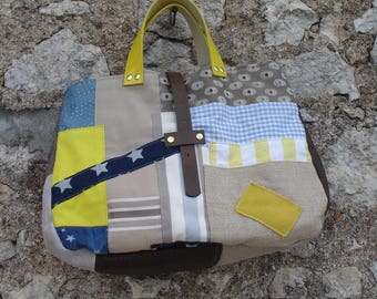 Large bag - Patchwork - blue stars - yellow - brown