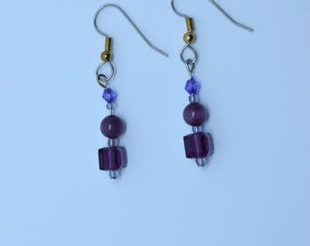 Earrings, purple and violet