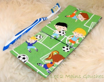 Pocket toothbrush kids themed football, inside in oilcloth