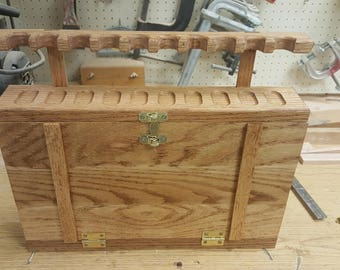 Hand Made Oak Pipe Rack and Cabinet