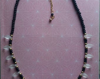 Black Gold Frosted Matte Glass Beaded Necklace (SKW BGFMG)