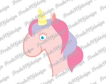 Unicorn Head SVG DXF Printable EPS Png, face, Silhouette, Clipart, Cricut Files, Shirt Decal, Monogram, Vector, Dabbing Cutting