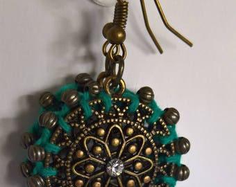 Crochet Turquoise and bronze earrings