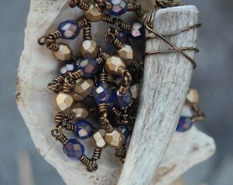 Blue and Gold Antler Tip Necklace