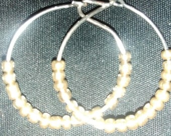 Gold Beaded Hoop Earrings sized medium hoops