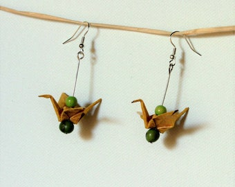 Green beads and yellow origami crane earrings