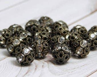 8mm Rhinestone Beads - Filigree Round - Bronze Filigree - Bronze Rhinestone - 8mm Filigree Beads - 20pcs (2711)