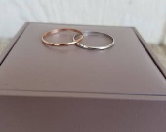 Pair of dainty stacking bands, rose gold, white gold, size 7 - 100.00 for both