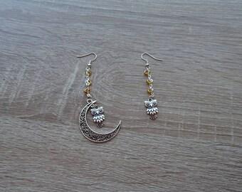 Earrings Moon owls and yellow beads
