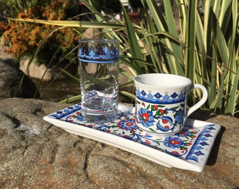 Traditional Turkish coffee set-Turkish coffee porcelain set-Espresso set- Turkish Coffee Cup,glasss and coffee  Saucer porcelain-Painted