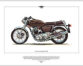 NORTON COMMANDO 850 - Motorcycle Fine Art Print - British twin motorbike picture