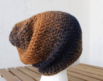 crochet hat slouchy beanie hipster hat unisex beanie mens hat gifts for men gifts under 25 wool blend navy wool hat black owned striped hat