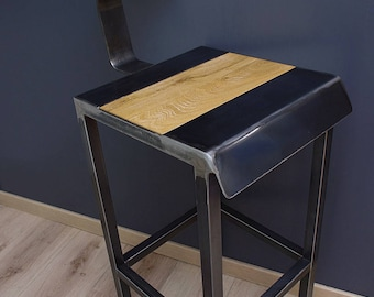 Industrial design bar stools iron and wood