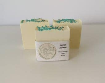Lemon Myrtle Soap // handcrafted cold processed soap // wedding favours // personalized gift // gift set // gift box