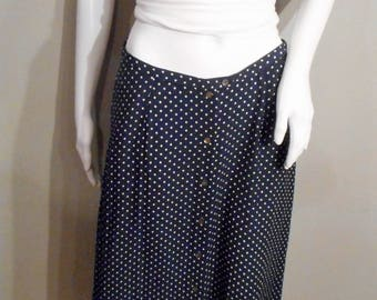 Vintage Navy polka dot skirt/30 waist/ size medium-small