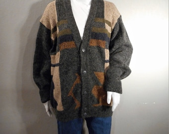 80s cardigan gray,tan,blue size large xl or oversized