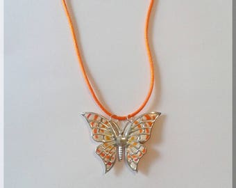 Yellow, orange and cream Butterfly pendant necklace