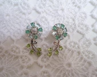 Earrings Sun silver, Emerald, Topaz and Peridot
