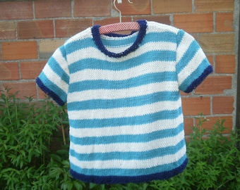 Cotton, girl 6 years, turquoise/ecru striped sweater