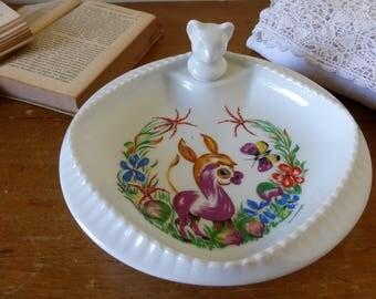 Assiette à bouillie en porcelaine de Limoges / French vintage warming plate in Limoges' porcelain