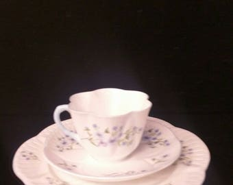 Shelley Blue Rock Trio Cup Saucer and Dessert Plate