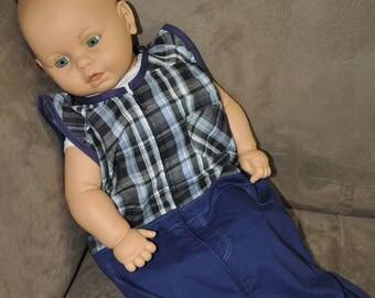 Boy sleeveless summer shirt plaid fabric Navy