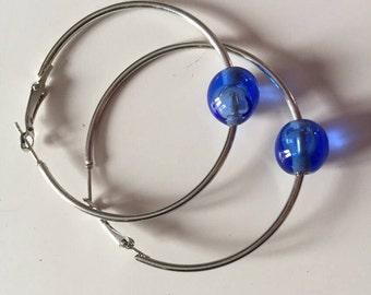 Hoop earrings with Murano glass bead
