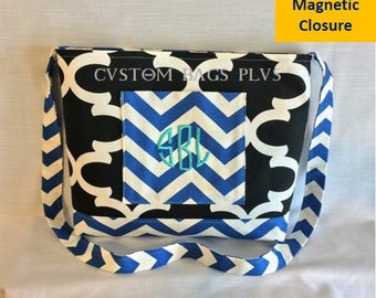Black Quatrefoil & Cobalt Chevron Cross-Body Messenger Bag with Blue Opal Monogram