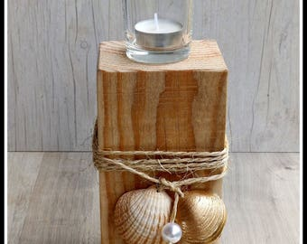 Wood, glass, shell candle holder tealight candle holder, candle holder wooden handmade, marine decoration, nautical decor