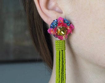 """Embroidered earrings unique, made entirely by hand, """"Juicy"""""""