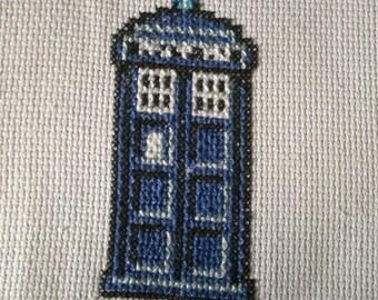 T.A.R.D.I.S. handmade cross stitch