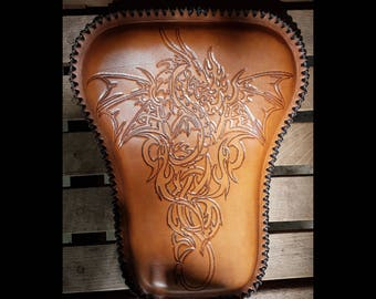 Hand made leather tooled motorcycle seat - Dragon & Fire design (chopper, bobber, brat)
