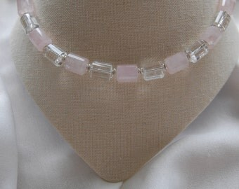 Finely polished Rose Quartz with rock Crystal Necklace