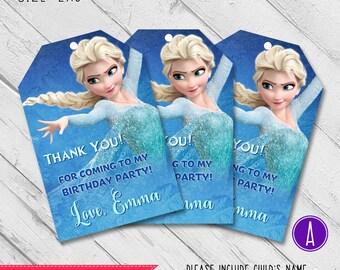 Frozen thank you tags, Frozen birthday thank you tag, Frozen favor tags, Elza thank you tag, Elza favor tag, Elza birthday thank you tag