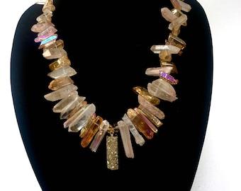 Golden Aqua Crystalline Quartz Necklace