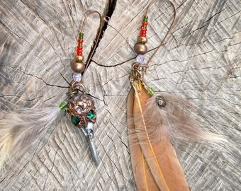 Earrings feathers and bird Crystal Skull copper beads rockery on large copper hooks
