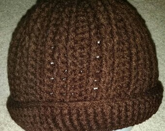 Super heavy dark brown crocheted winter hat...man's extra large size