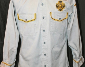 Vintage 50'S 60'S Elbeco Sanforized Silver Creek Fire Dept Department Uniform Shirt