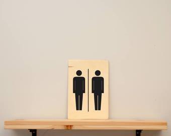 """Toilet sign """" men - men """" - vinyl on varnished wood (choose from a range of colours) - Door decor bathroom or master bedroom"""
