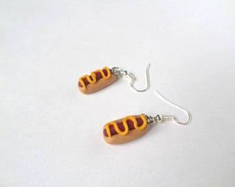 Hot dog polymer clay earrings