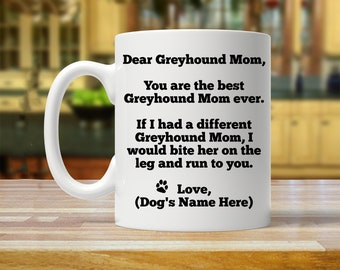 greyhound mom, personalized greyhound gift, greyhound gift for her, custom greyhound lover , greyhound mom mug, funny greyhound mom gift