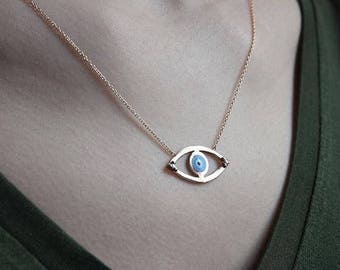 14K Gold Evil Eye Necklace/Hand-made Gold Evil Eye Necklace Available in 14k Gold, White Gold or Rose Gold