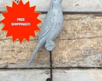 Shabby Chic Bird Hook // Vintage Bird Hook // Antiqued Bird Hook // Bird Hook // Coat Hook // Towel Hook // Nursery Hook // Wall Hook