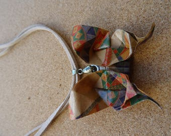 Beige, green and Red Butterfly Origami necklace