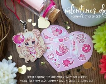 2018 Valentine's Day Bundle - Jess charm with sticker set